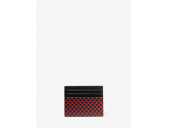 Henry Checkerboard Logo Leather Tall Card Case