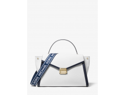 Whitney Large Logo Tape Pebbled Leather Satchel